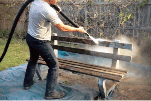 Public bench cleaning